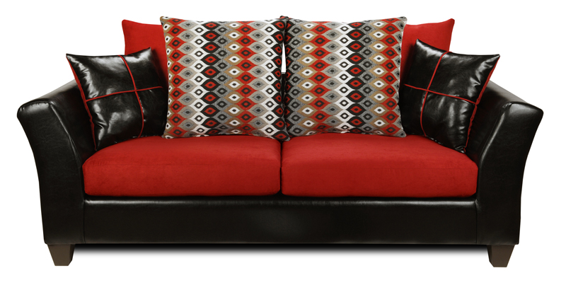 Denver Black Victory Cardinal B W Red Sofa Loveseat