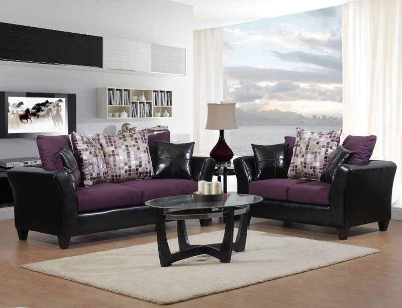 Black Plum Glittera Sofa Loveseat